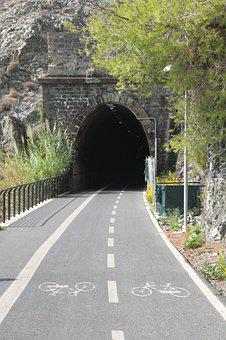 Tunnel, Bike, Away, Cycling, Traffic, Cycle Path