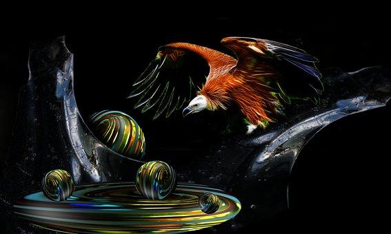Balls, Glaskugeln, Marbles, Ice, Vulture, Bird