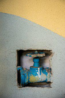 Crane, Blue, Yellow, Trumpet, Valve, Water, Paint, Wall