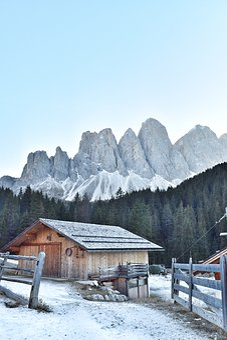 Dolomites, Hut, Snow, Winter, Landscape, Nature
