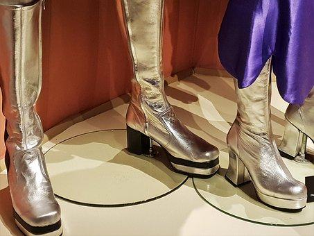 Shoes, Golden, Abba, Pop, Gloss, Decorative, Costume