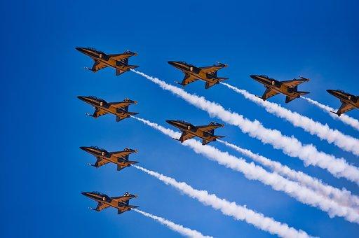 Flying, Air Show, Blue, Aircraft, Air, Plane, Bo, Non