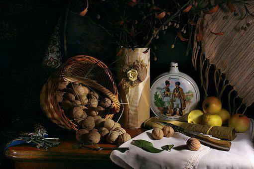 Still Life With Nuts, Greek, Basket, Harvest, Apples
