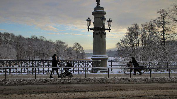 Landscape, Dawn, Bridge, Winter Mood, Morning, Spacer