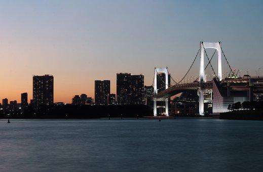 Japan, Bridge, Beach, Sunset, Buildings, Night, City
