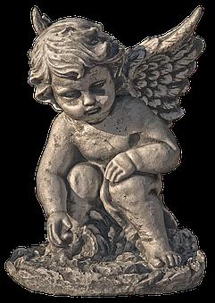Angel, Cherub, Figure, Reflecting, Sitting