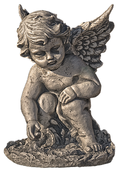 Angel, Cherub, Figure, Reflecting, Sitting