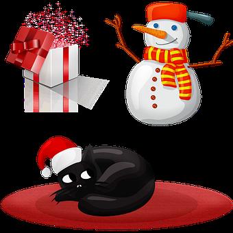 Christmas Cat, Snowman, Gift, Christmas, Winter, Snow