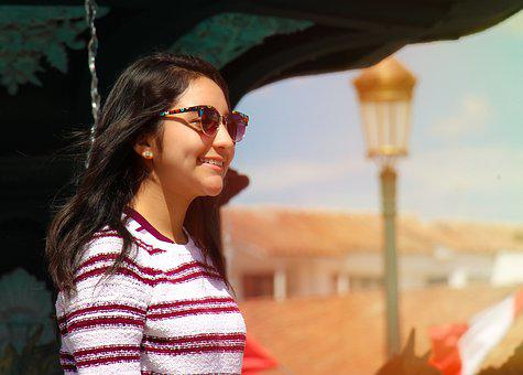 Cusco, Peru, Plaza, Girl, Sunglasses, Lenses, Flag