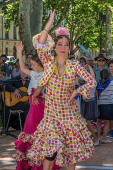 France, Dancing, Nimes, Clothes, Costume, Woman, Dancer