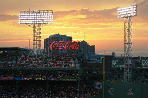 Sunset, Over, Fenway Park, Boston, Flood Lights, Golden