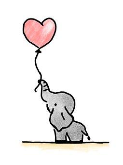 Elephant, Holding, Balloon, Heart, Congratulations