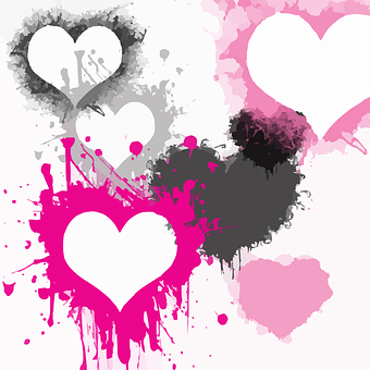 Hearts, Splatter, Paint, Love, Graffiti, Sketch