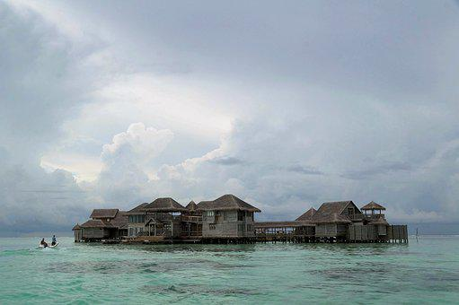 Maldives, Hut, Shack, Villa, Beach, Island, Sea, Resort