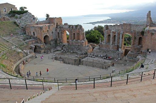 Teatro Greco-romano, Taormina, Sicily, Italy, Theater