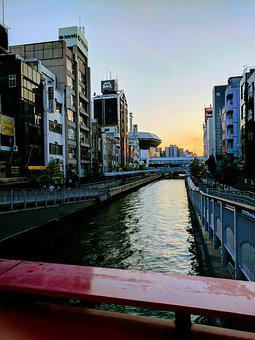 Osaka, River, Japan, City, Building, Architecture