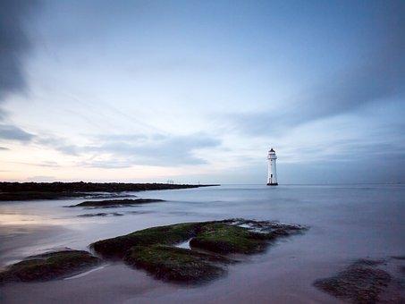 Lighthouse, Sea, Ocean, Sky, Water, Coast, Nature