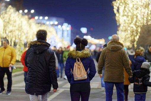 People, Couple, Men, Women, Kids, Going, Walk, Street
