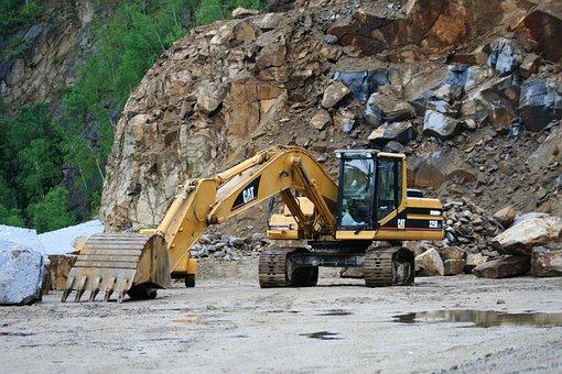 Excavator Stone Quarry, Stones, Industry, Mining