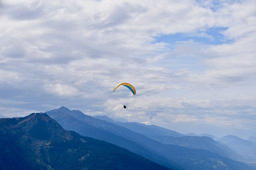 Paragliders, Panoramic Views, Mist, White Clouds