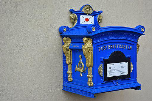 Mailbox, Nostalgia, Old, Blue, Retro, Blacksmithing