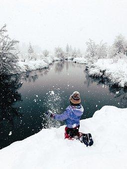Little Girl, Winter, Outdoor, River, Snowman, Snowflake
