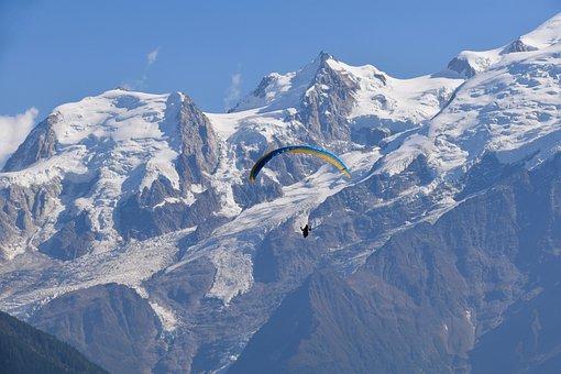 Paragliding, Paraglider, Panoramic Views, Mont Blanc