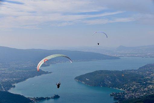 Paragliding, Paraglider, Lake Annecy, Hazy Landscape