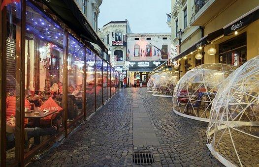 Landscape, Urban, Street, Paved, Terraces, Restaurants