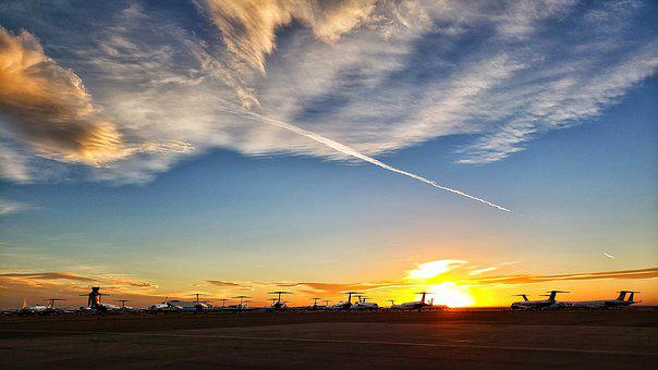 Airplane, Aviation, Private Jet, Airport, Sunset
