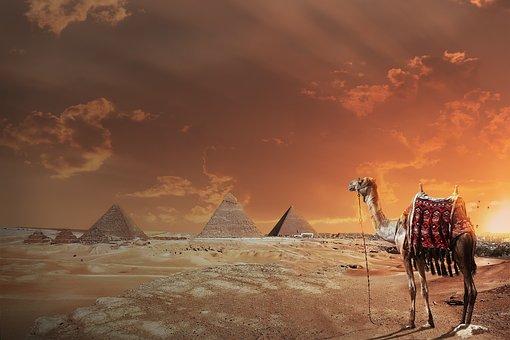 Landscape, Desert, Pyramids, Sky, Flash, Camel