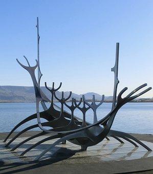 Iceland, Reykjavik, Viking Ship, Sculpture, Modern Art