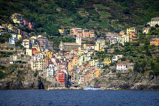 Cinque Terre, Riomaggiore, Italy, Village, Coast, Sea