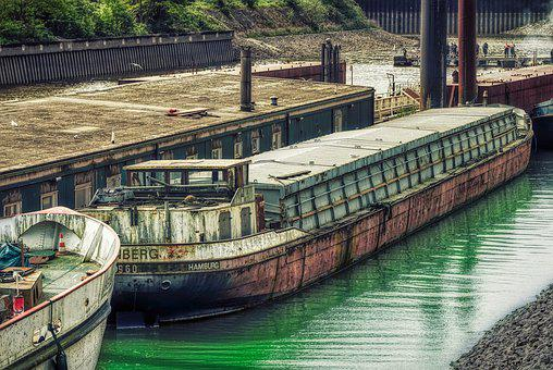 Ship, Barge, Water, River, Investors, Rust