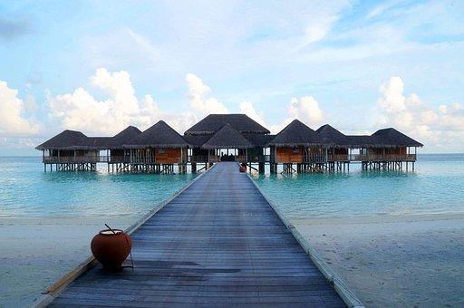 Maldives, Over-water Villa, Island, Hut, Beach, Sea