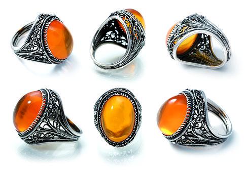 Finger Ring, Ring, Silver, Amber, Rim, Jeweler, Art