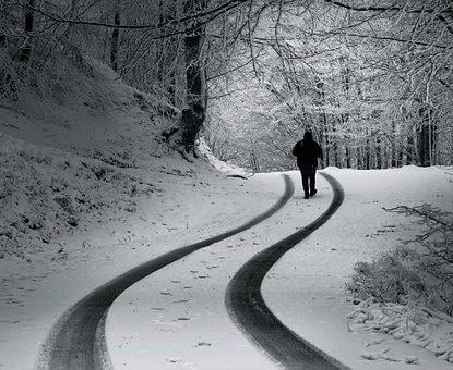 Man, Snow, Road, Black White, Snowman, Magic, Stranger