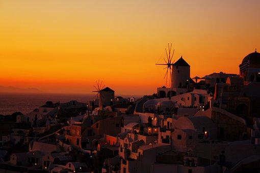 Santorini, Sunset, Greece, Sea, Summer, Island, Travel
