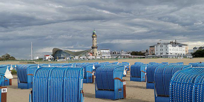 Warnemünde, Lighthouse, Beach Chair, Teepott, Sea