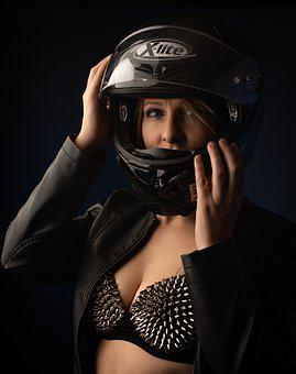 Woman, Sexy, Model, Face, Helmet, Attractive, The Eyes