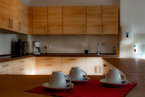 Kitchen, Three Cups Of Coffee, Depth Of Field