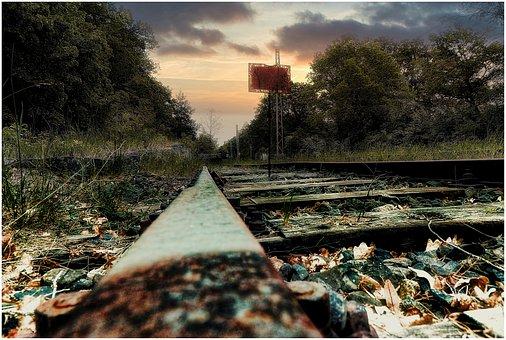 Train, Rails, Railway, Track, Gleise, Gravel, Rust