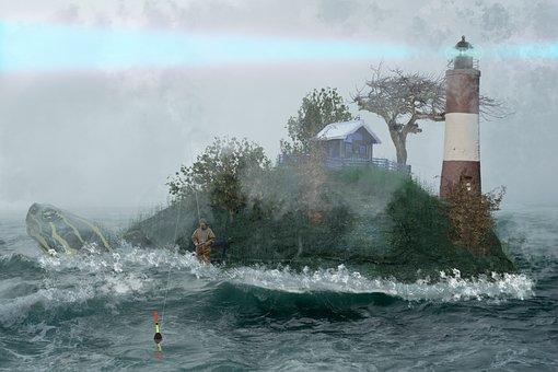 Turtle, Lighthouse, Water, Ocean, Wave, Fog, Angler
