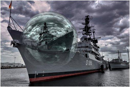 Ship, Navy, Sea, Marines, Water, Maritime, Glass Ball