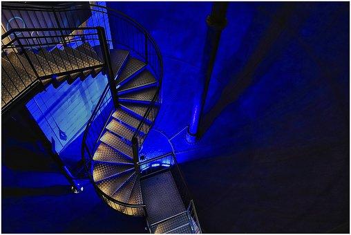 Stairs, Lüneburg, Blue, Building, Water Tower, Light