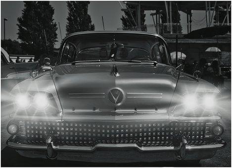 Auto, Spotlight, Oldtimer, Automotive, Vehicle, Classic
