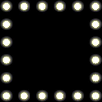 Mirror, Lights, Backstage, Black, Border, Bulbs, Frame