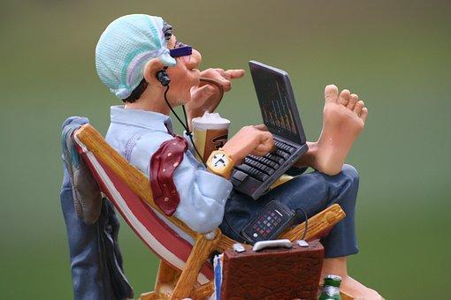 Boss, Computer, Foot, Barefoot, Holidays, Business