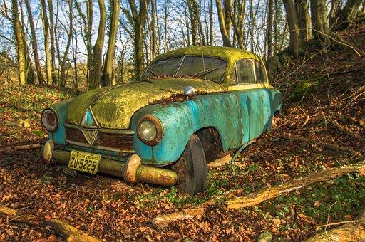 Borgward, Auto, Vehicle, Oldtimer, Junkyard, Chrome