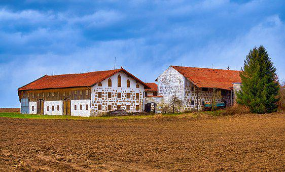 Agriculture, Bavaria, Field, Building, Sky, Break Up